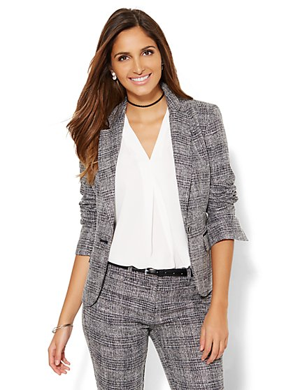 7th Avenue Design Studio Jacket - Black Plaid - Petite - New York & Company