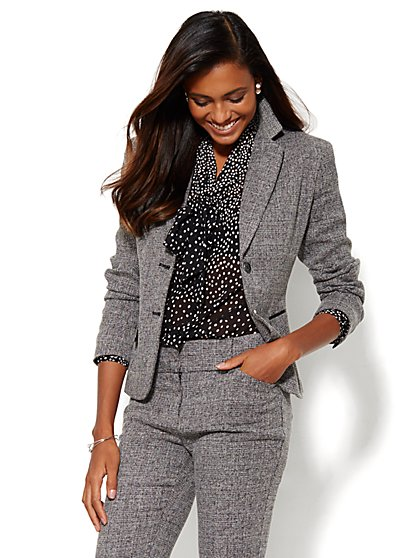 7th Avenue Design Studio Jacket - Modern Fit - Black Tweed - New York & Company