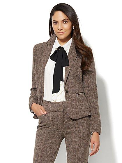 7th Avenue Design Studio Jacket - Modern Fit - Brown Tweed - New York & Company