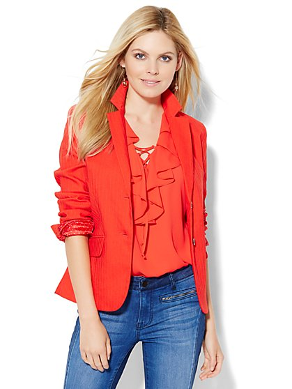 7th Avenue Design Studio Jacket - Runway Fit - Campfire Red  - New York & Company