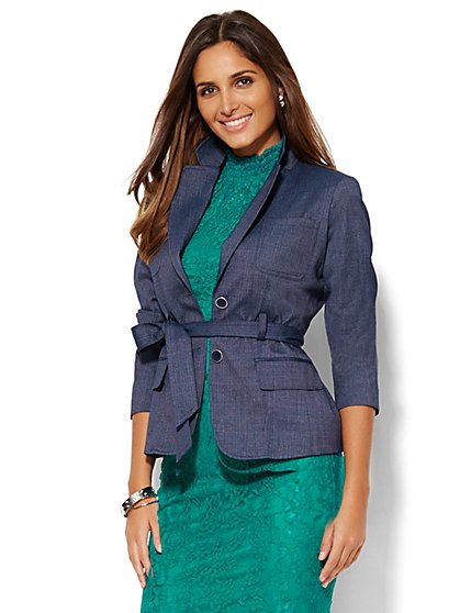 7th Avenue Design Studio Jacket - Runway Fit - Tie-Front - Grand Sapphire  - New York & Company