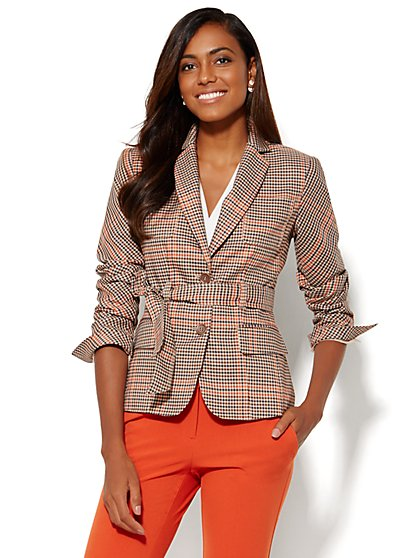 7th Avenue Design Studio Jacket - Runway Fit - Tie-Waist - Plaid - Petite - New York & Company