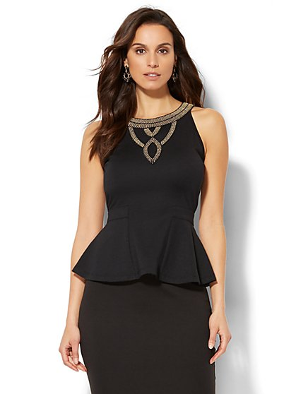 7th Avenue Design Studio - Jeweled Peplum Top - New York & Company