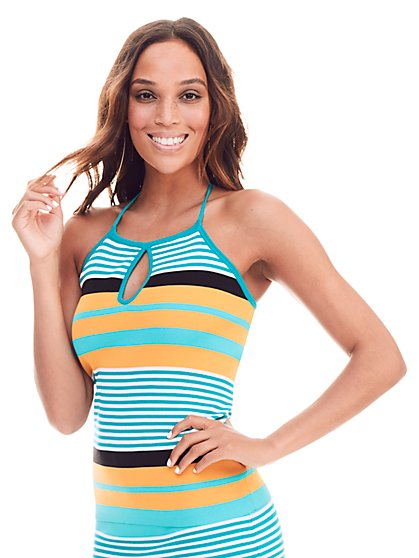 7th Avenue Design Studio - Keyhole Halter Top - Stripe  - New York & Company