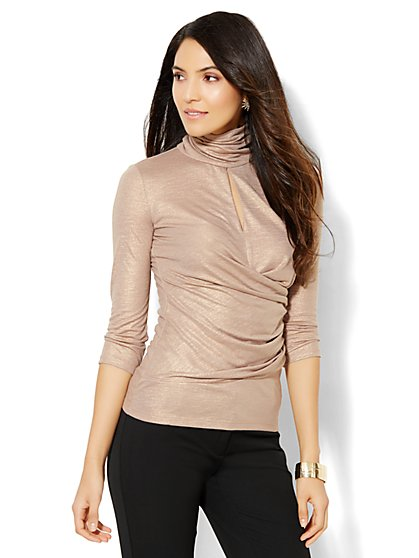 7th Avenue Design Studio - Keyhole Turtleneck - Metallic Taupe  - New York & Company