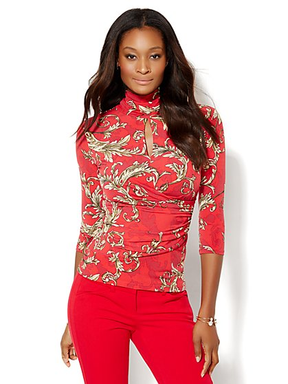 7th Avenue Design Studio - Keyhole Turtleneck Top - Print  - New York & Company