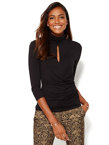 7th Avenue Design Studio - Keyhole Turtleneck Top - Solid  - New York & Company
