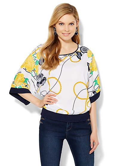 7th Avenue Design Studio - Kimono Blouse - Print  - New York & Company