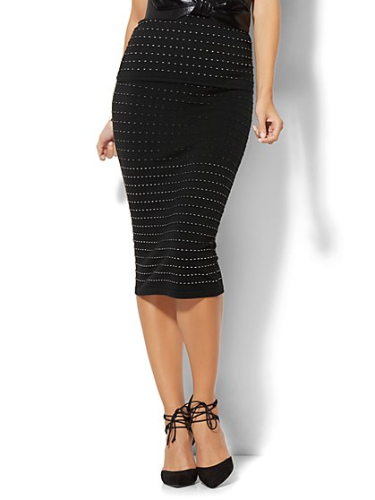 7th Avenue Design Studio - Knit Pencil Skirt - Black  - New York & Company