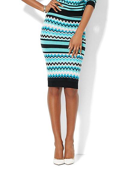 7th Avenue Design Studio - Knit Pencil Skirt - Chevron - New York & Company