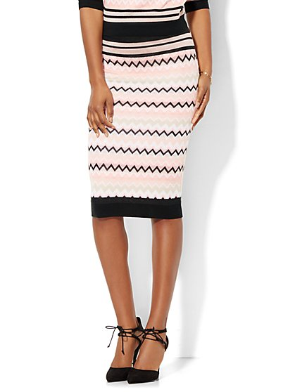 7th Avenue Design Studio - Knit Pencil Skirt - Chevron - New York & Company