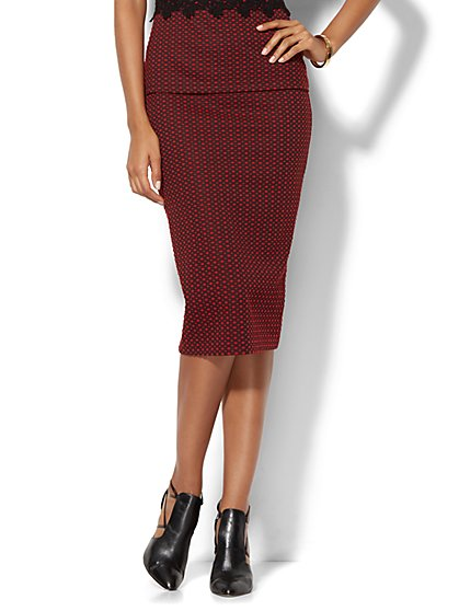 7th Avenue Design Studio - Knit Pencil Skirt - Red - Petite  - New York & Company