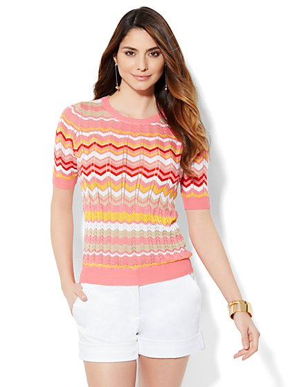 7th Avenue Design Studio - Knit Top - Zigzag Stripe  - New York & Company