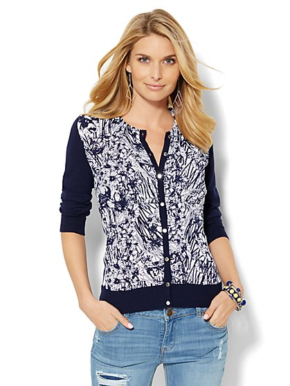 7th Avenue Design Studio - Knit/Woven Crewneck Chelsea Cardigan - Floral  - New York & Company