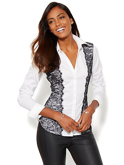 7th Avenue Design Studio - Lace-Accent Madison Shirt  - New York & Company