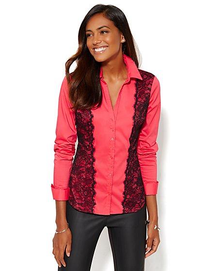7th Avenue Design Studio - Lace-Accent Madison Shirt  - New York & Company