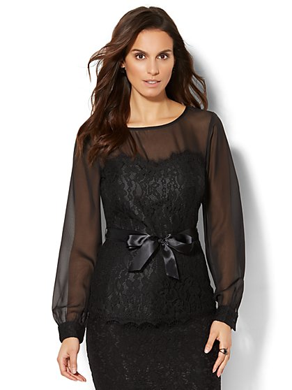 7th Avenue Design Studio - Lace-Accent Peplum Blouse - New York & Company