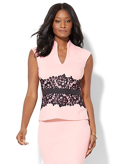 7th Avenue Design Studio - Lace-Accent Peplum Top - New York & Company