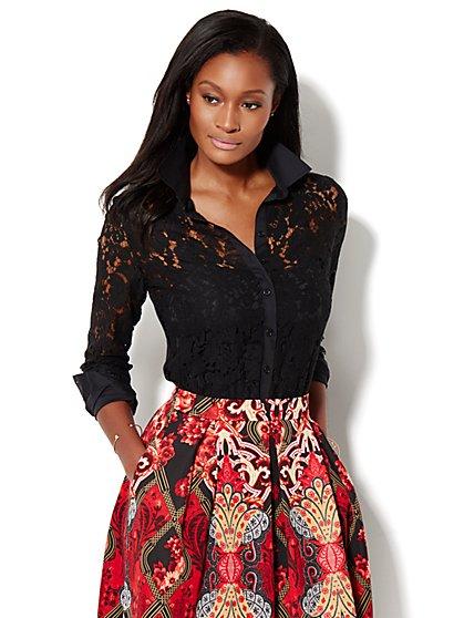 7th Avenue Design Studio - Lace Accent Shirt  - New York & Company
