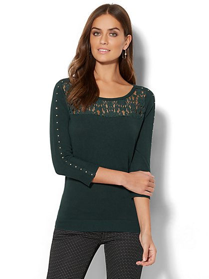 7th Avenue Design Studio - Lace-Accent Studded Sweater - New York & Company