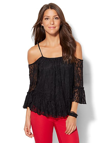7th Avenue Design Studio - Lace Cold-Shoulder Blouse  - New York & Company