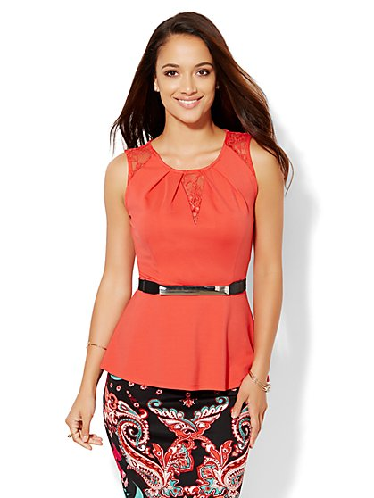 7th Avenue Design Studio - Lace-Inset Peplum Shell  - New York & Company