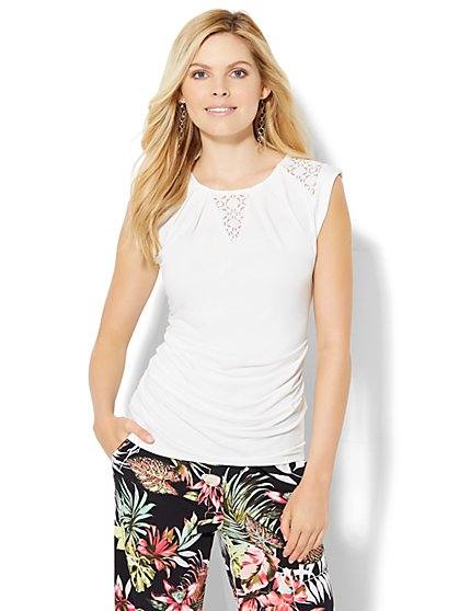 7th Avenue Design Studio - Lace-Inset Top - White  - New York & Company