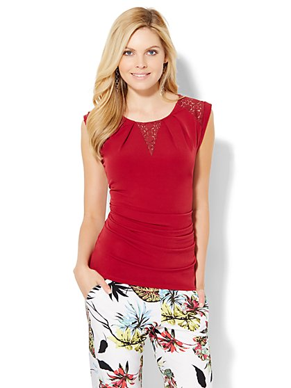 7th Avenue Design Studio - Lace-Inset Top  - New York & Company