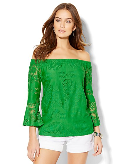 7th Avenue Design Studio - Lace Off-The-Shoulder Blouse  - New York & Company