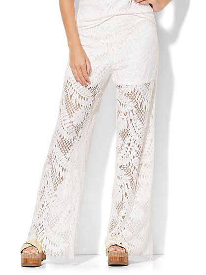 7th Avenue Design Studio - Lace-Overlay Palazzo Pant  - New York & Company
