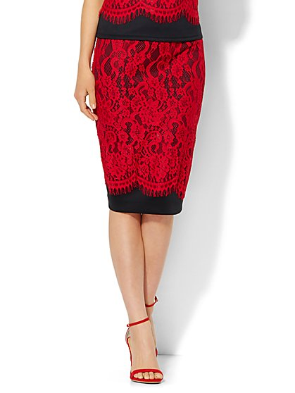 7th Avenue Design Studio - Lace Overlay Pencil Skirt  - New York & Company