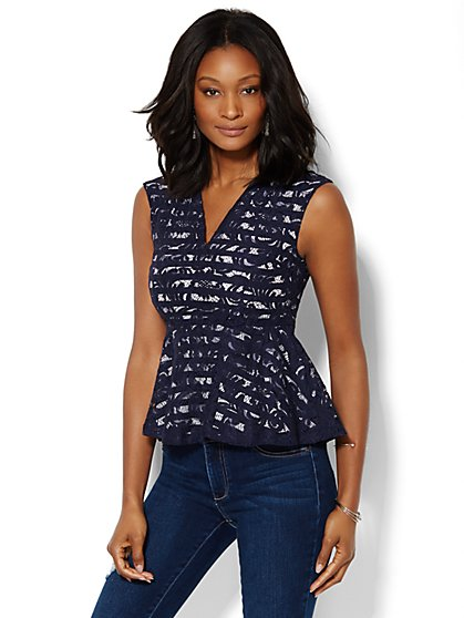 7th Avenue Design Studio - Lace Overlay Peplum Top  - New York & Company