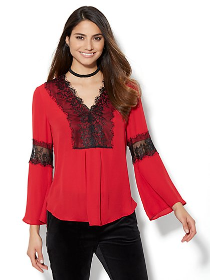 7th Avenue Design Studio - Lace-Trim Bell-Sleeve Blouse - New York & Company