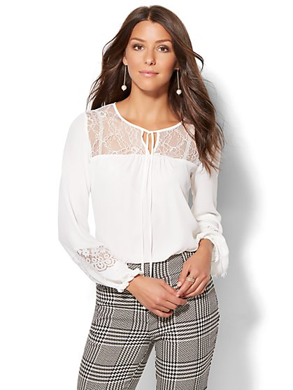 7th Avenue Design Studio - Lace-Trim Peasant Blouse - Petite  - New York & Company