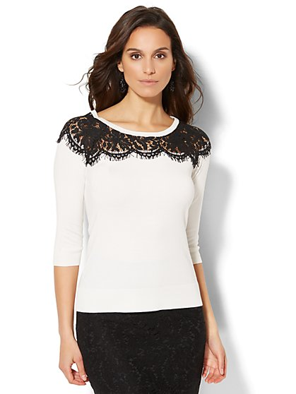 7th Avenue Design Studio - Lace-Trim Sweater - New York & Company
