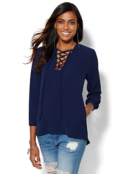 7th Avenue Design Studio - Lace-Up Blouse  - New York & Company