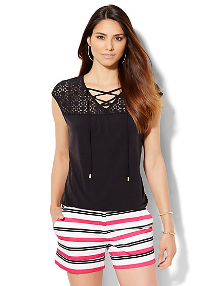 7th Avenue Design Studio - Lace-Up Lace Panel Top - Black  - New York & Company