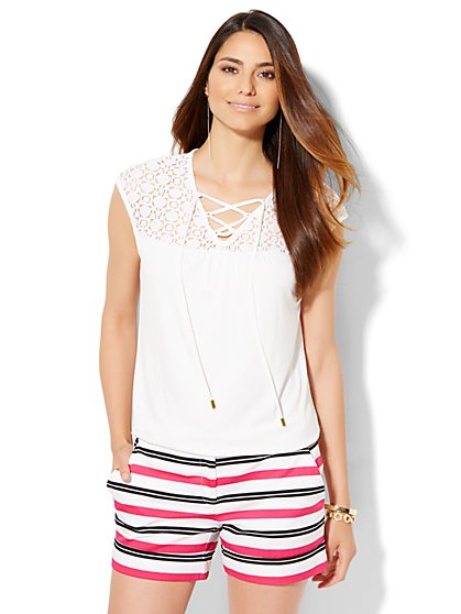 7th Avenue Design Studio - Lace-Up Lace Panel Top - Paper White  - New York & Company