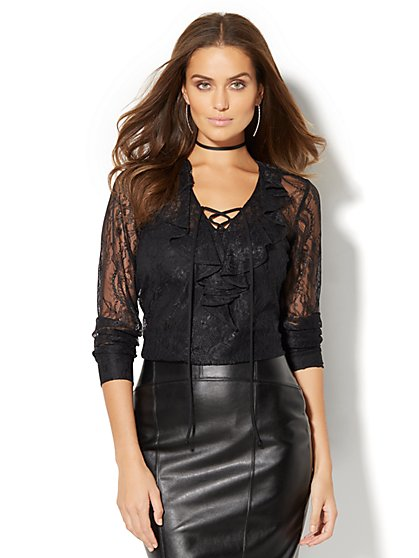 7th Avenue Design Studio - Lace-Up & Ruffle Lace Blouse  - New York & Company