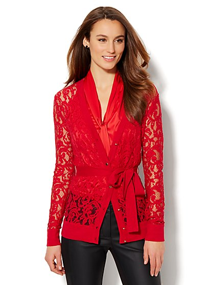 7th Avenue Design Studio - Lace V-Neck Boyfriend Cardigan  - New York & Company