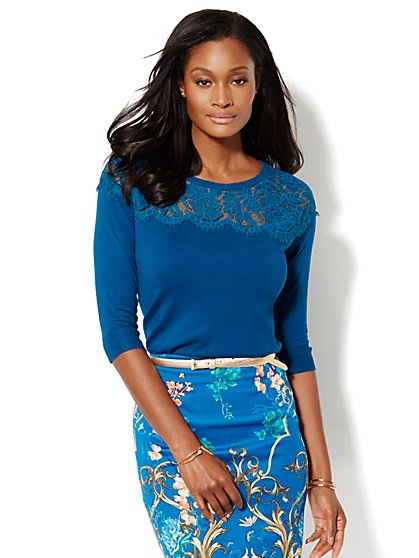 7th Avenue Design Studio - Lace Yoke Sweater - New York & Company