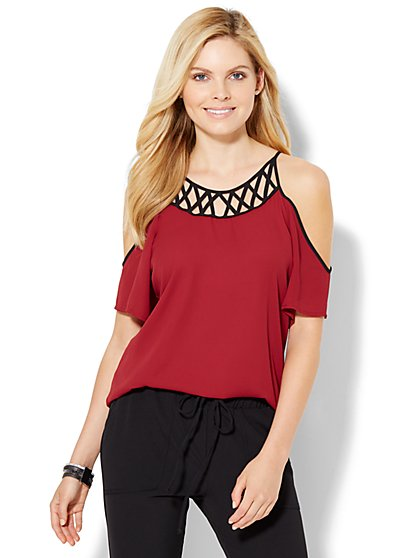 7th Avenue Design Studio - Lattice-Detail Cold-Shoulder Blouse  - New York & Company