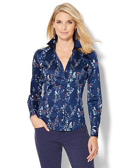 7th Avenue Design Studio Long-Sleeve Shirt - Floral/Bird Print  - New York & Company