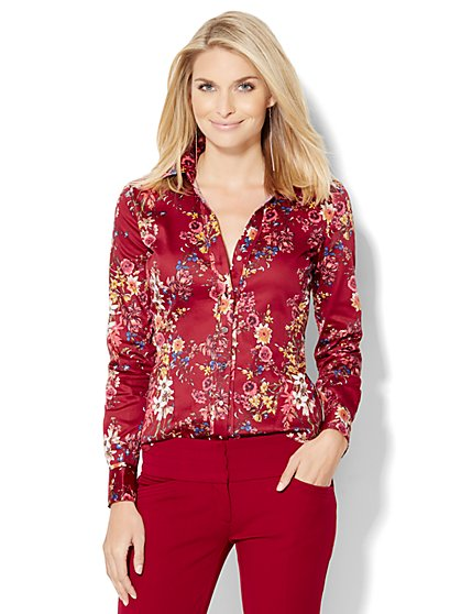 7th Avenue Design Studio Long-Sleeve Shirt - Floral  - New York & Company