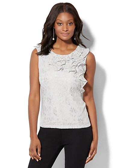 7th Avenue Design Studio - Lurex Lace Top - Grey - New York & Company