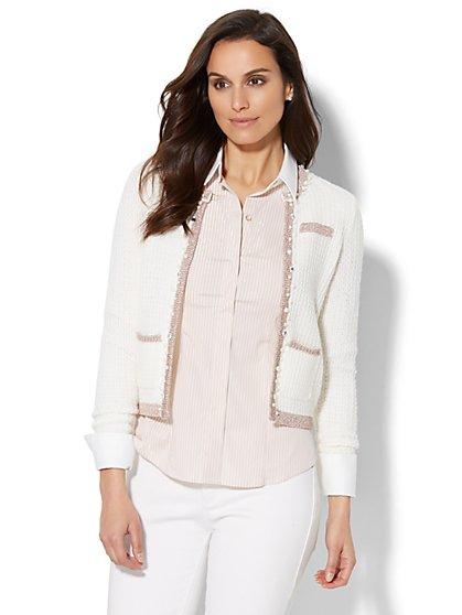 7th Avenue Design Studio - Lurex-Trim Sweater Jacket - New York & Company