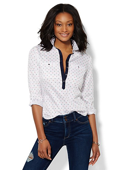 7th Avenue Design Studio - Madison Popover Shirt - Anchor Print  - New York & Company