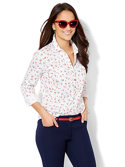 7th Avenue Design Studio - Madison Popover Shirt - Cherry Print  - New York & Company