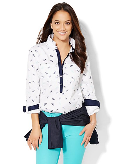 7th Avenue Design Studio - Madison Popover Shirt - Dragonfly Print - New York & Company