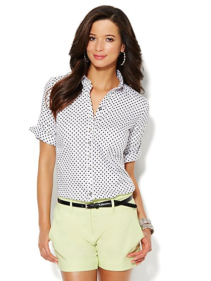 7th Avenue Design Studio - Madison Shirt - Button-Front Shirt - Polka-Dot  - New York & Company